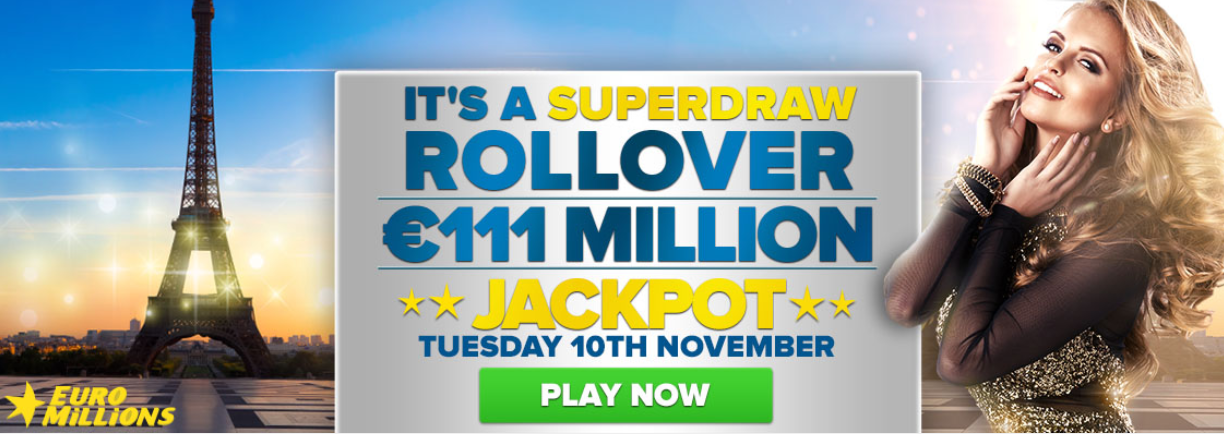 EuroMillions Superdraw Rollover, 111 million Euro EuroMillions Superdraw