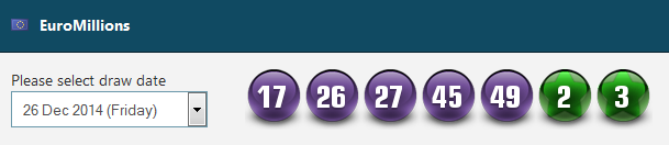 EuroMillions results for the 26.12.2014