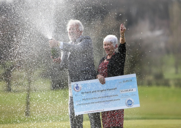 Richard and Angela Maxwell enjoying their EuroMillions win