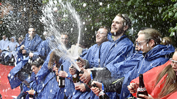 Guiness World Record for lottery winners popping champagne