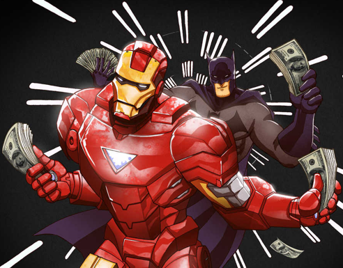 Superhero wins the lottery, Iron Man and Batman with money
