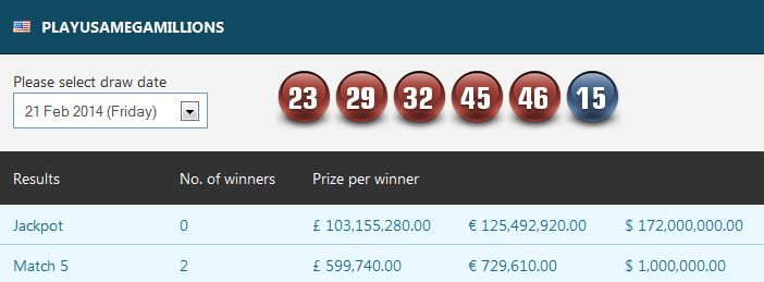 Two lucky players managed to match 5 numbers and each took home a very ...